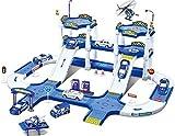 Dominiti Autogarage mit Fahrzeugen Parkgarage Kinder Spielzeug Tankstelle Garage mit Autos, Parkhaus Spielzeug für Kinder ab 3 Jahren, Spielzeugauto Polizei Station Autobahn Blau