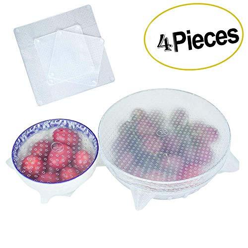 Coperchi elasticizzati in silicone riutilizzabili set di coperchi per fustelle alimentari da 4 pezzi per alimenti freschi