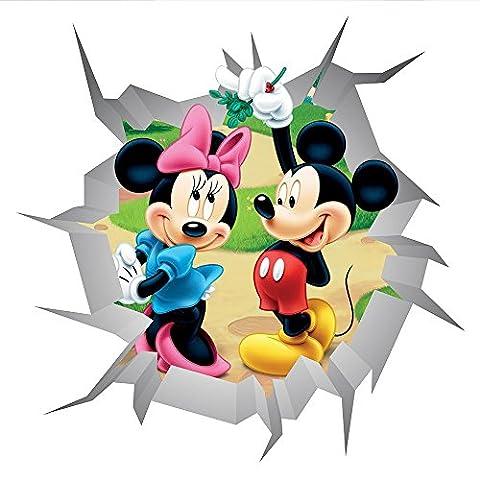 Minnie und Mickey Maus Wand Crack V401Magic Fenster Wand Aufkleber selbstklebend Poster Wall Art Größe 750mm breit x 750mm tief (groß)