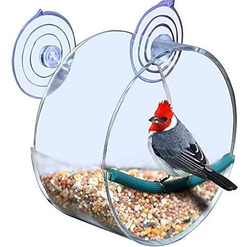 joizo 1 Stück Premium-Clear Window Vogelhaus Acryl Birdcage Extra Large Biro Einzigartige Runde Voliere mit starken SOG saugt (rund) -