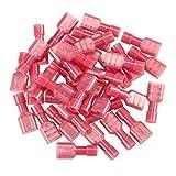 INCREWAY 200 Stück rot 22/16 Gauge Nylon weiblich voll isoliert Schnelltrenner Kabelspaten Drahtklemmen