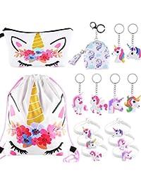 SIQUK 15 Piezas Unicorn Gifts for Girls Unicorn Drawstring Mochila/Maquillaje/Monedero/Unicorn Pulseras Pulseras…
