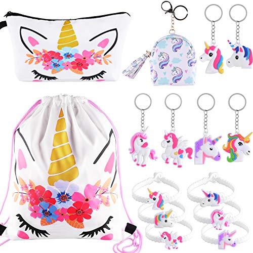 SIQUK 15 Piezas Unicorn Gifts for Girls Unicorn Drawstring Mochila/Maquillaje/Monedero/Unicorn Pulseras Pulseras/Unicornio Llaveros Unicornio para Fiesta