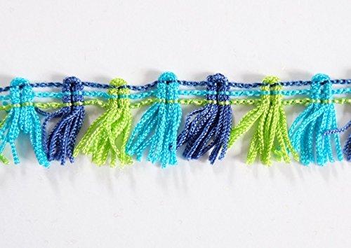 Fransenborte Multicolor 20mm - Blau - ab 2 Meter, 200 cm