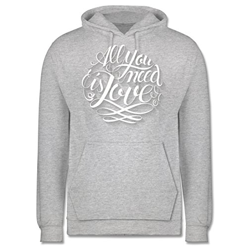 Statement Shirts - All you need is love Lettering - Männer Premium Kapuzenpullover / Hoodie Grau Meliert