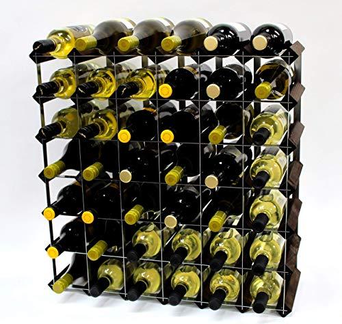 Eiche Montiert (Klassische 42Flasche Eiche dunkel gebeiztem Holz und verzinktem Metall Weinregal fertig montiert)