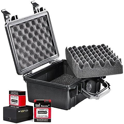Baxxtar Action Set mit Mantona Outdoor Koffer und Dual Lader mit USB-MiniUSB Kabel für GOPRO Hero3 oder GOPRO