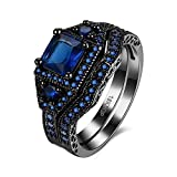 Ring Damenring Verlobungsring Ehering Trauring mit Stein Zirkonia ein Klassischer Eleganter Diamantring Schmuck für Mädchen und Frauen, JPR870-Blue-8