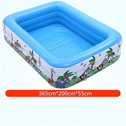 Verdicken Sie umweltfreundliche PVC-erwachsene Kinder baden und schwimmen Gefaltetes aufblasbares quadratisches Familien-Pool-Spielzeug-Pool 365 * 200 * 55cm für 9-12 Leute