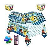 Pokemon Team Kindergeburtstags-Party-Set für 16 Gäste - kostenlose einfache Ballons & Kerzen
