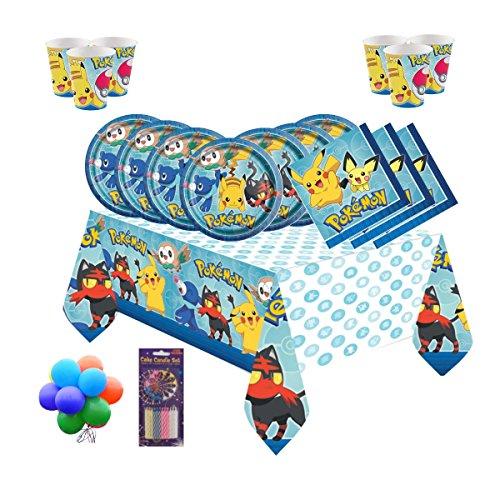 (Pokemon Team Kindergeburtstags-Party-Set für 16 Gäste - kostenlose einfache Ballons & Kerzen)