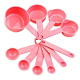 Hot Sale 10Pcs Baking Cup Spoon Set Tablespoon Measuring Tool Pink Kitchen Coffee Cooking 5GCL