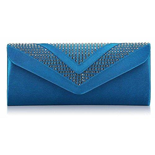 TrendStar Frauen Stilvoll Prom Party Hochzeit Taschen Damen Abend Kupplung Handtasche Satin Z - Blau