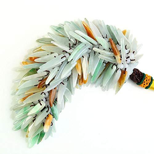 Zhiming Trois Perles de Couleur émeraude Chili Voiture remorque intérieur Ornements Auto Jade Pendentif en Cadeau décoration