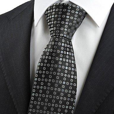FYios®Schwarz Grau gepunkteten Kreis Muster Herren Krawatte Krawatte Formale Hochzeit Geschenk KT 0031 (Kreis-muster-krawatte)