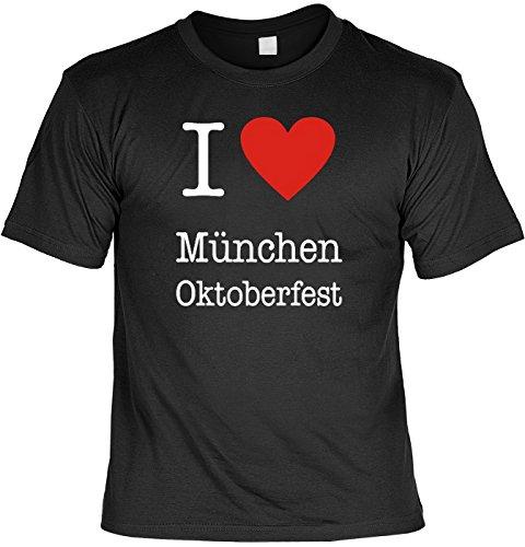 Wiesn/Bayern-Spaß/Fun-Shirt Thema Oktoberfest: I love München Oktoberfest cooles Geschenk Schwarz