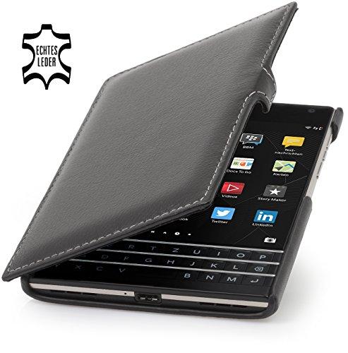 StilGut Book Type Case mit Clip, Hülle Leder-Tasche für BlackBerry Passport. Seitlich klappbares Flip-Case aus Echtleder für BlackBerry Passport Schwarz Nappa