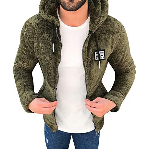 ZHANSANFM Jacke Herren Übergangsjacke mit Kapuze Plus Samt Outwear Mäntel Reißverschluss Unifarben Kapuzenjacke Slim Fit Warm Weiche Strickmantel Kurz Beiläufiges Sweatjacke (3XL, Armeegrün) Stripe Zip Fleece
