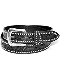 Ceinture Western Bikers homme cuir Noir Taille 38 - country Tooled, Studded - XM-7632