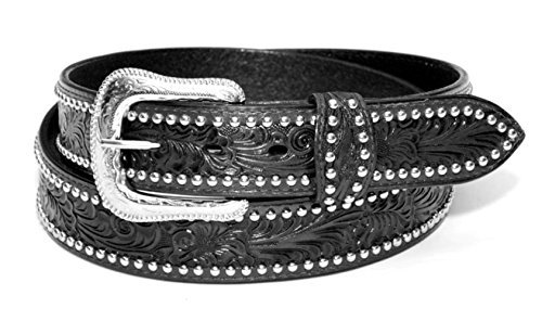 Ceinture Western Bikers homme cuir Noir Taille 38 - country Tooled, Studded  - XM- 3ece0a02e32