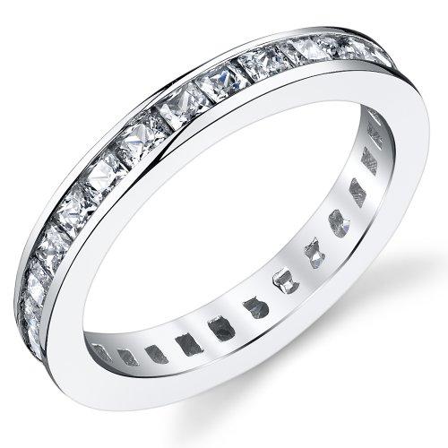 3MM Damen Sterling Silber 925 Verlobungsring,Ehering Mit Prinzessin Schnitt Zirkonia Bequemlichkeit Passen,Größe 54