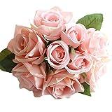 RWINDG 9 Köpfe Künstliche Seide Gefälschte Blumen Blatt Rose Hochzeit Blumendekor Blumenstrauß Kaufen Seidenblumen Deko Orchideen