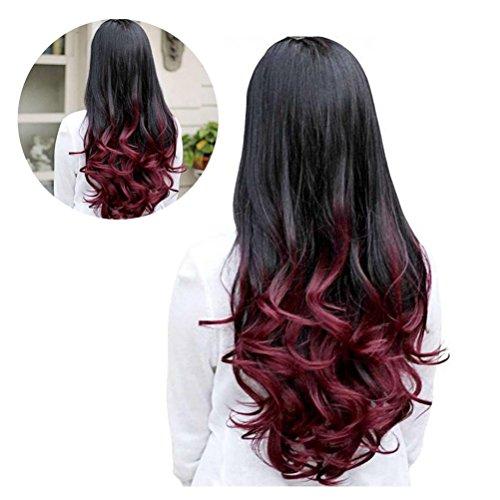Frcolor Femmes Grande Vague Perruque Cheveux Long Ondulés Gradient Couleur Perruque 68cm(Vin Rouge)