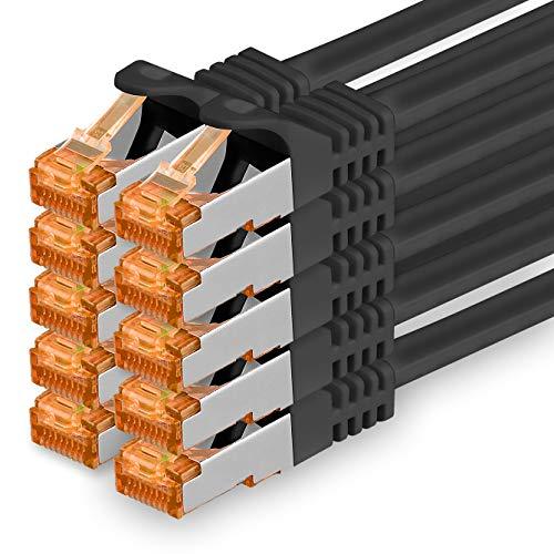 1aTTack.de 0,25m - Cat.7 Netzwerkkabel Schwarz - 10 Stück Gigabit Ethernet LAN Kabel 10000 Mbit s Patchkabel Cat7 Kabel S FTP PIMF Schirmung LSZH Cat.7 Rohkabel Rj45 Stecker Cat 6a - 10 x 0,25 Meter