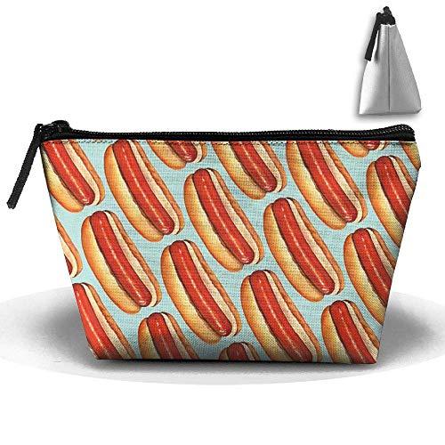 Frauen Make-up Tasche Tragbare Reise Kosmetiktasche Lagerung Hot Dog Malerei Klassischen Reißverschluss Trapez Geldbörse (Hot-dog-malerei)