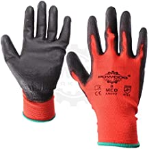 12 Pairs of 'POWCOG' PU Safety Work Gloves PPE   RED & BLACK   LARGE   Perfect for Gardening Mechanics Warehouse DIY