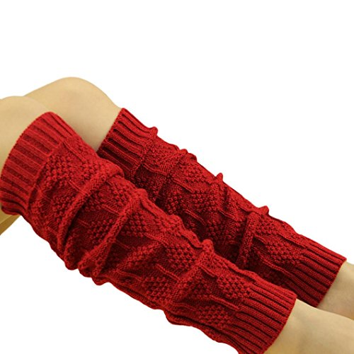 TWIFER Winter Damen Zopfmuster Stulpen Socken Beinwärmer (Rot, 46cm) (Kabel-stricken Kinder-schuhe)