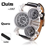 Oulm Brand Cheap Adventure Multi-Function 3-Movt White Dial Black Leather Watch for Men