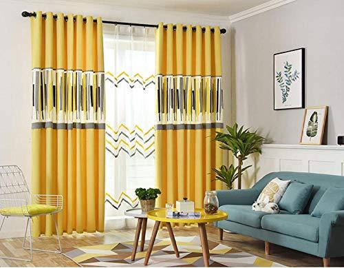 Cortina geométrica amarilla moderna 350x260 cm