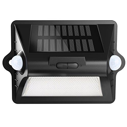 Deck Teich (Herbests RGBW IP65 LED Solarleuchte mit Bewegungsmelder - 7 Farben + 3 Modi - für Garten, Treppe im Freien, Veranda, Deck, Garten, Haus, Auffahrt, Außenwand usw. [Energieklasse A++])