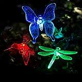 3 Pack Solar Garden Lights Outdoor - Luci a Palo Solare Luci da Giardino a LED a Cambiamento Multicolore, Luci Decorative a Farfalla Premium per Cortile, Prato, Patio
