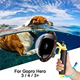 For GoPro Dome Hero Black 4 3 3+, Dome Port Lens With Transparent Cover,Floating Handle Grip And Pistol Trigger Attached For Underwater Photography, Waterproof 30M Action Camera Accessory Housing Ca
