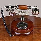 Dough.Q Retro Wand Vintage Telefon,Wählscheibe Antik Festnetz Telefon,geeignet Aus Holz Und Metall Telefon Für Hause,Büro, Luxus Haus, Sterne Hotel, Kunstgalerie, Mit Echter, Rotierender Wählscheibe