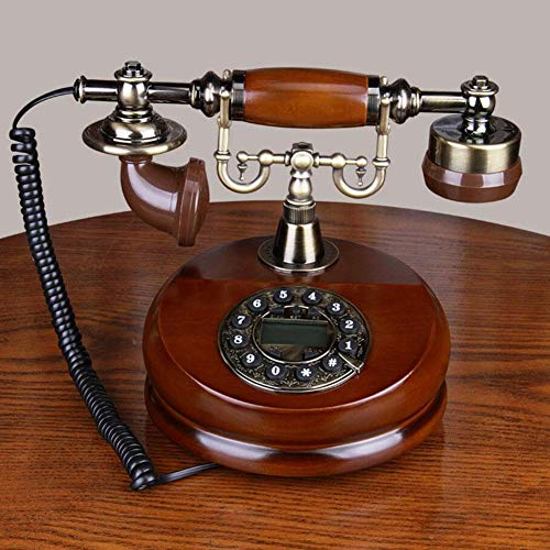 intage Telefon,Wählscheibe Antik Festnetz Telefon,geeignet Aus Holz Und Metall Telefon Für Hause,Büro, Luxus Haus, Sterne Hotel, Kunstgalerie, Mit Echter, Rotierender Wählscheibe ()