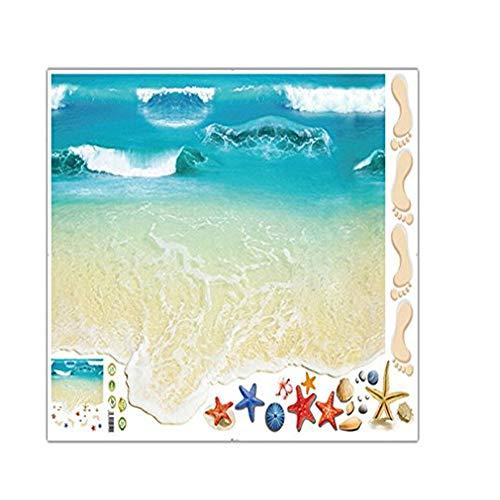 (ZZuffig Charm Boden Aufkleber mehrere Nutzungs Strand Motiv Tile Aufkleber Selbstklebende Boden Ocean Wave Paste, Werkzeuge und Verarbeitungswand)