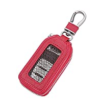 Car KeyChain Cover Premium Leather Key Chain Coin Holder Keyring Hook Wallet Zipper Case Remote Smart Key Fob Alarm Security (Red)