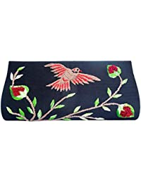 Spice Art Black Thread Embroidered Silk Clutch For Ladies With Sparrow Motifs