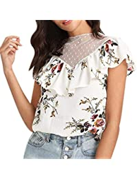 Camisas Mujer Verano Elegantes Moda Blusa Floreadas Splice Sin Mangas Volantes Sencillos Sin Tirantes Cuello Redondo