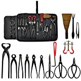 Voilamart  Bonsai Tools Kit 14 Piece Carbon Steel Scissor Cutter Shear Wire with Case Plant Tool for the Gardener