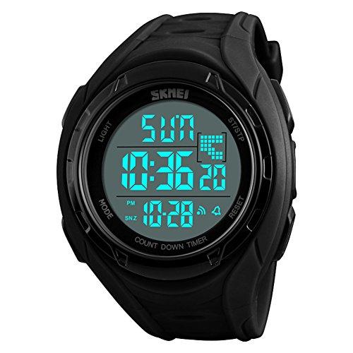 Herren Sportuhr,50m wasserdicht Wecker Leuchtend Kalender GMT, wenn Zwei Multifunktion Digitale stoppuhr Junior Jugendliche Elektronische Uhren-C