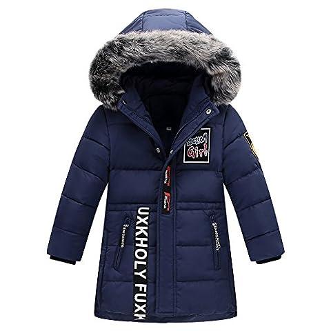 LSERVER Garçon Manteau D'hiver Doudoune Neige Veste Capuche Fourrure Poches Enfant Zip Jacket Parka Outdoor, Bleu, 7-8 ans / 130