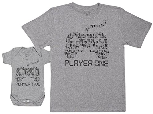 Player One & Player Two - Passende Vater Baby Geschenkset - Herren T-Shirt & Baby Strampler/Baby Body - Grau - M & 0-3 Monate