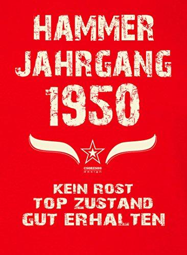 Damen Kurzarm Motiv T-Shirt Girlieshirt :-: Geburtstagsgeschenk Geschenkidee für Frauen zum 67. Geburtstag :-: Hammer Jahrgang 1950 :-: Farbe: rot Rot