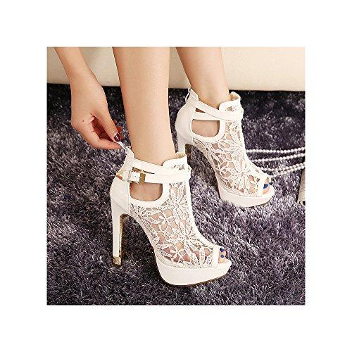 OCHENTA Damen Sandalen Peep-Toe Stiletto Hohl Stiefel Reißverschluss Geblümt Stickerei Weiß