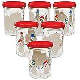 6 Einmachgläser 'Schneemann-Familie' 219 ml mit Deckel, Marmeladengläser für Weihnachten, Weihnachtsgeschenke, Geschenke aus der Küche