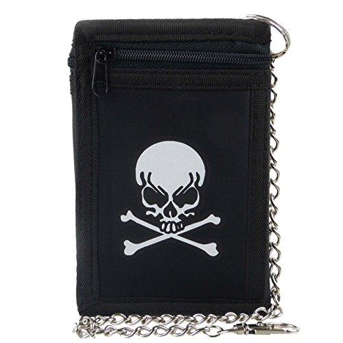 Da uomo Boys Nero Teschio + Croce Osso Tri-Fold Portafoglio con catena clip pirata